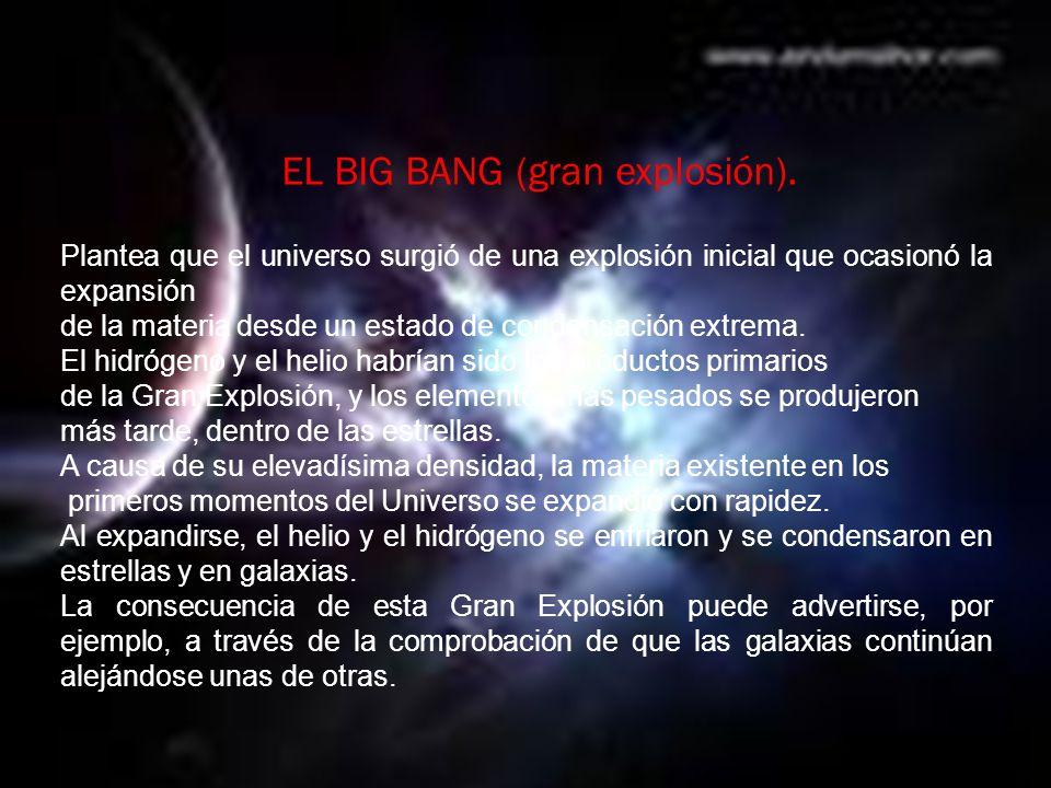 EL BIG BANG (gran explosión).