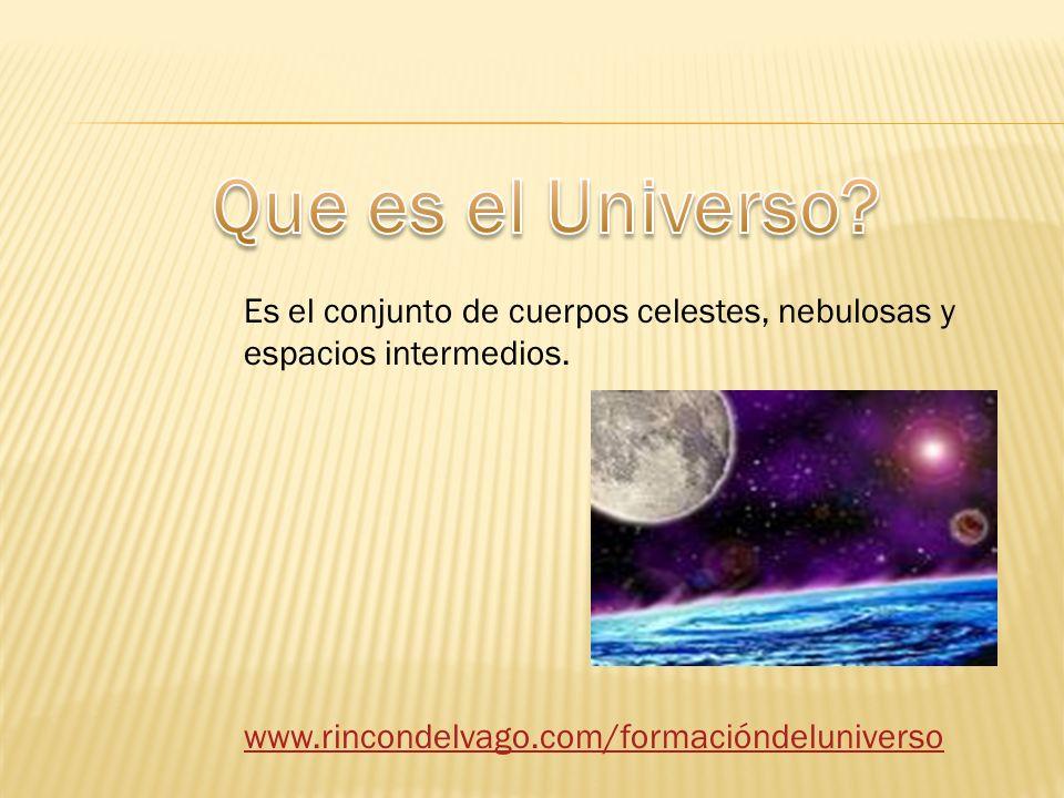 Que es el Universo. Es el conjunto de cuerpos celestes, nebulosas y espacios intermedios.