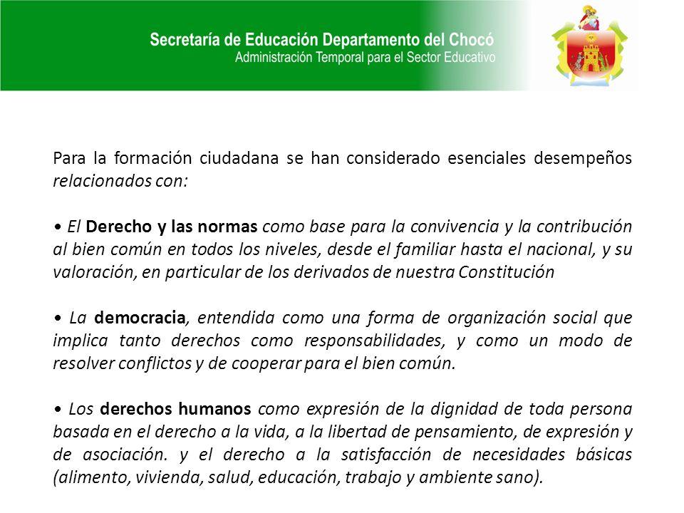 Para la formación ciudadana se han considerado esenciales desempeños relacionados con: