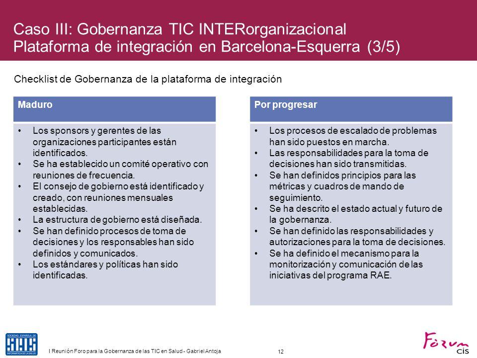Caso III: Gobernanza TIC INTERorganizacional Plataforma de integración en Barcelona-Esquerra (3/5)