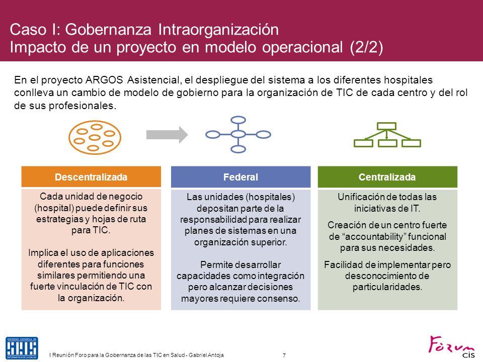 Caso I: Gobernanza Intraorganización Impacto de un proyecto en modelo operacional (2/2)