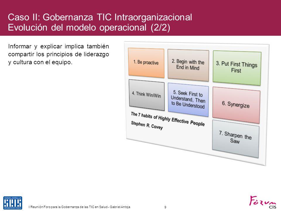 Caso II: Gobernanza TIC Intraorganizacional Evolución del modelo operacional (2/2)