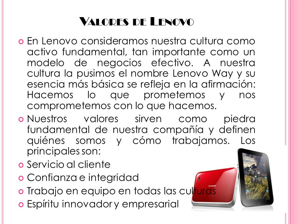 Valores de Lenovo
