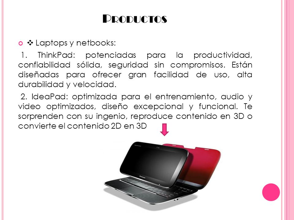 Productos ❖ Laptops y netbooks: