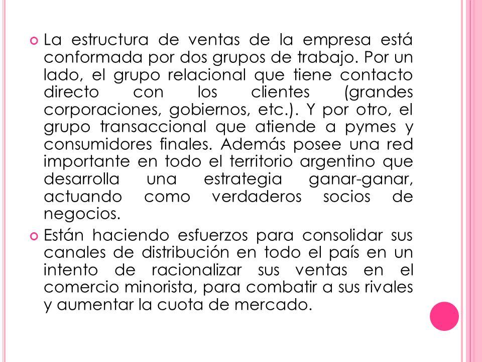 La estructura de ventas de la empresa está conformada por dos grupos de trabajo. Por un lado, el grupo relacional que tiene contacto directo con los clientes (grandes corporaciones, gobiernos, etc.). Y por otro, el grupo transaccional que atiende a pymes y consumidores finales. Además posee una red importante en todo el territorio argentino que desarrolla una estrategia ganar-ganar, actuando como verdaderos socios de negocios.