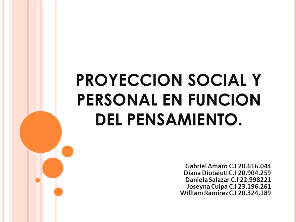 PROYECCION SOCIAL Y PERSONAL EN FUNCION DEL PENSAMIENTO.
