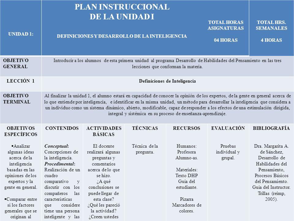 PLAN INSTRUCCIONAL DE LA UNIDAD I
