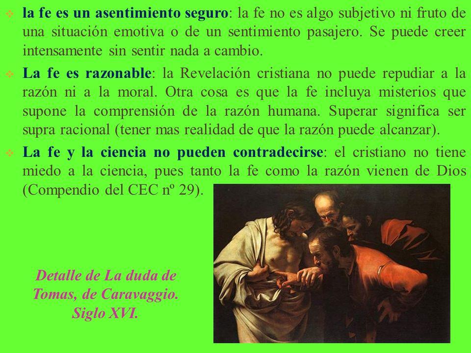 Detalle de La duda de Tomas, de Caravaggio. Siglo XVI.