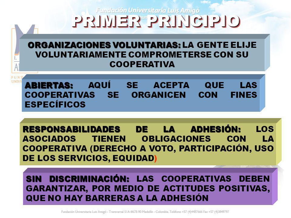 PRIMER PRINCIPIO ORGANIZACIONES VOLUNTARIAS: LA GENTE ELIJE VOLUNTARIAMENTE COMPROMETERSE CON SU COOPERATIVA.