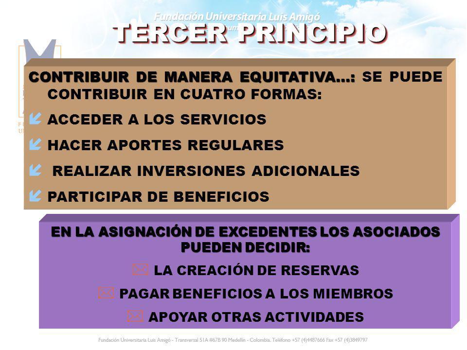TERCER PRINCIPIO CONTRIBUIR DE MANERA EQUITATIVA...: SE PUEDE CONTRIBUIR EN CUATRO FORMAS: ACCEDER A LOS SERVICIOS.