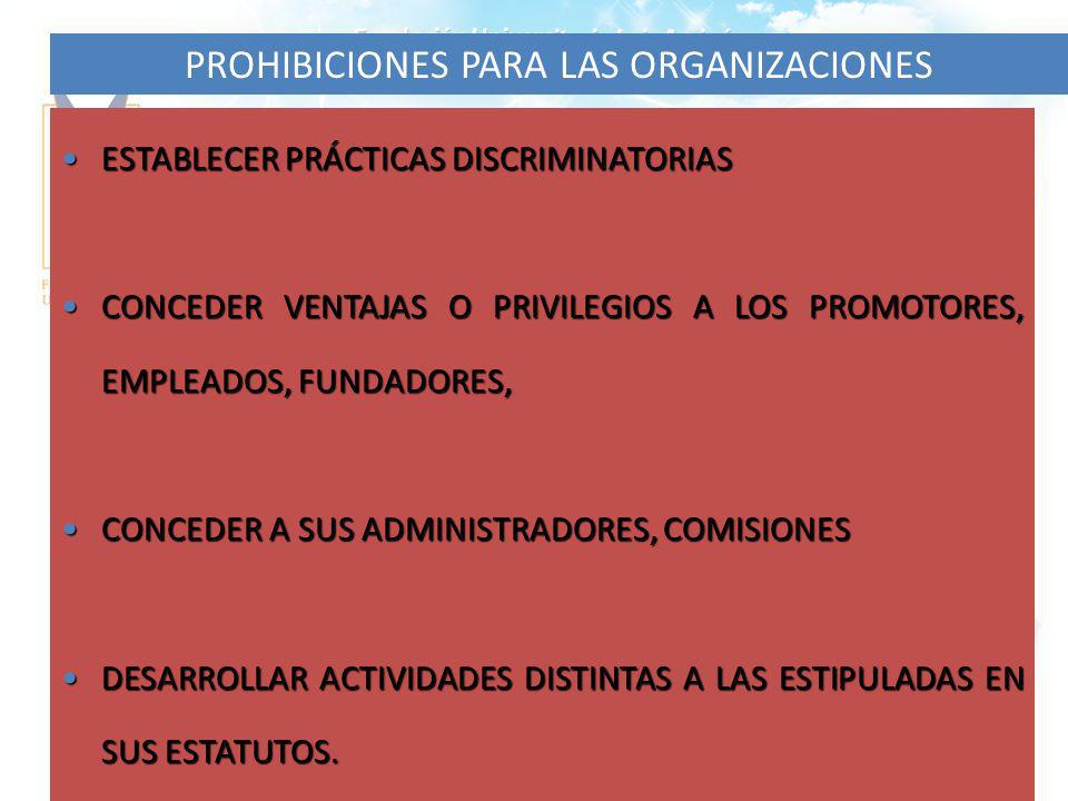 PROHIBICIONES PARA LAS ORGANIZACIONES