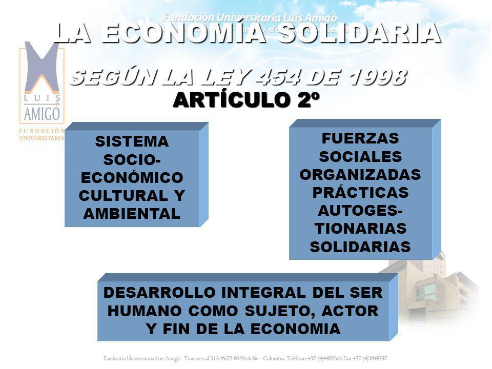 LA ECONOMÍA SOLIDARIA SEGÚN LA LEY 454 DE 1998 ARTÍCULO 2º