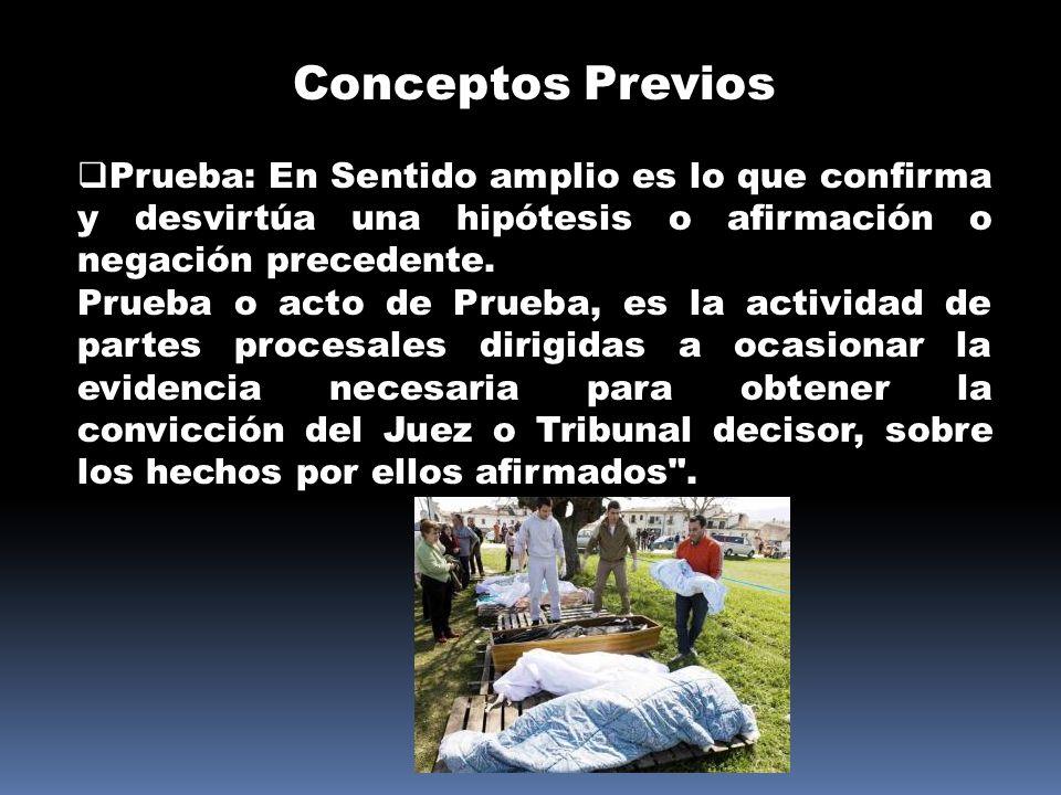 Conceptos Previos Prueba: En Sentido amplio es lo que confirma y desvirtúa una hipótesis o afirmación o negación precedente.
