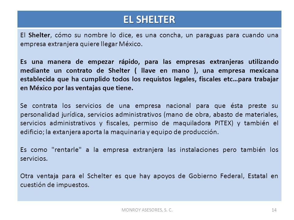 EL SHELTEREl Shelter, cómo su nombre lo dice, es una concha, un paraguas para cuando una empresa extranjera quiere llegar México.