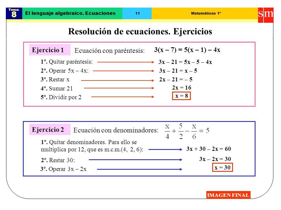 Resolución de ecuaciones. Ejercicios