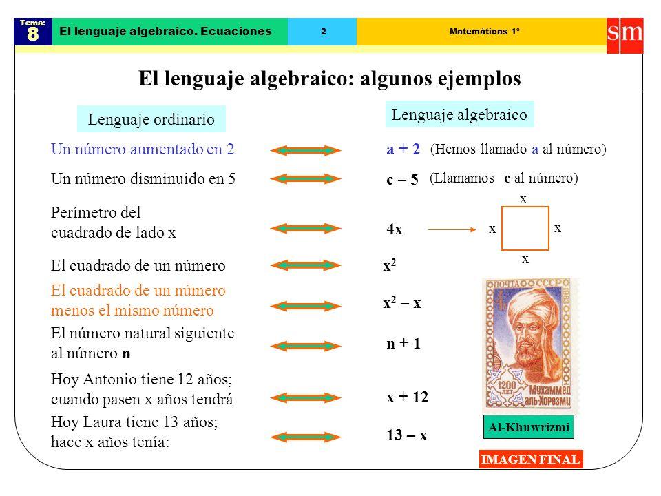 El lenguaje algebraico: algunos ejemplos
