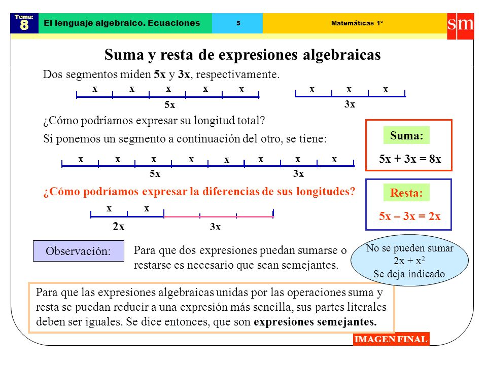 Suma y resta de expresiones algebraicas