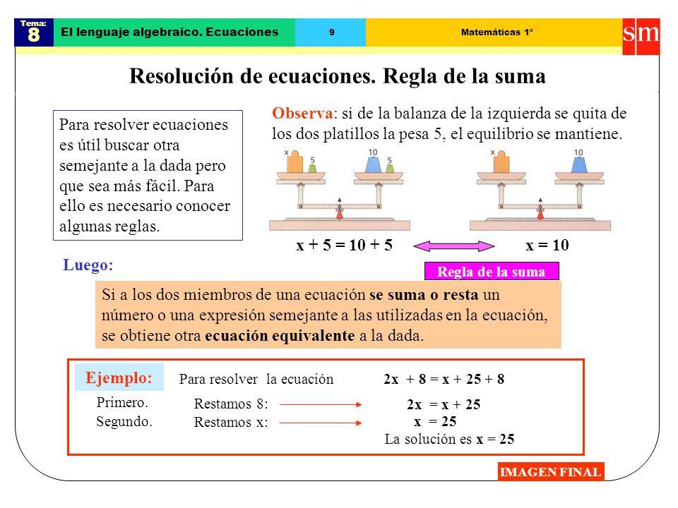Resolución de ecuaciones. Regla de la suma