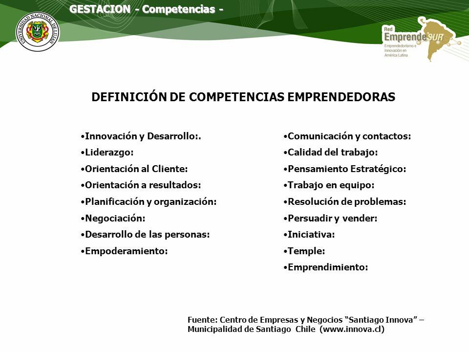 DEFINICIÓN DE COMPETENCIAS EMPRENDEDORAS