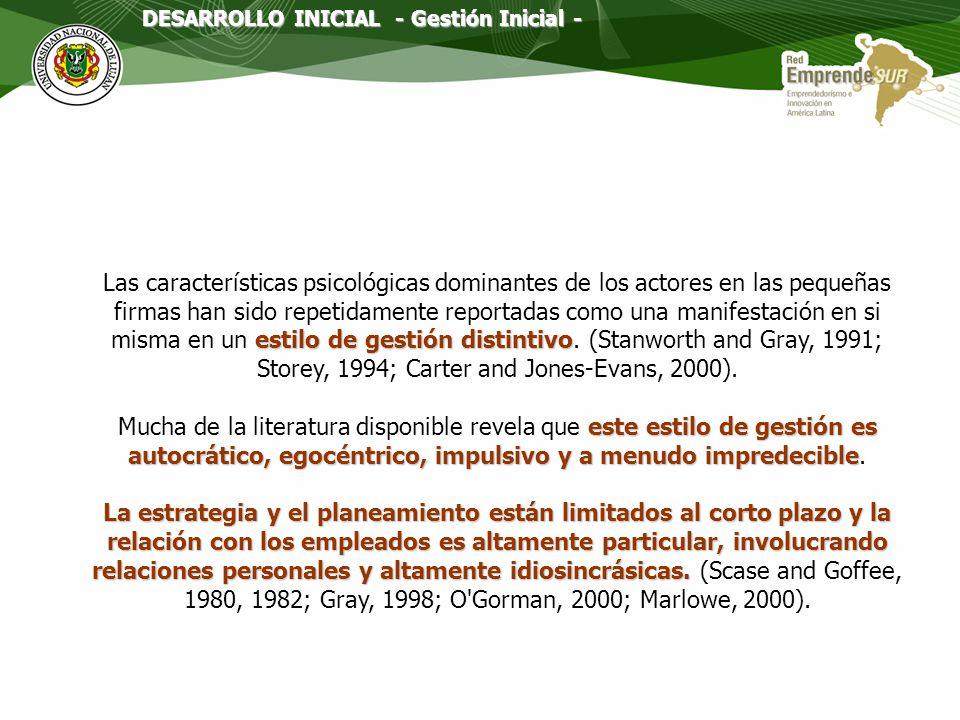 DESARROLLO INICIAL - Gestión Inicial -
