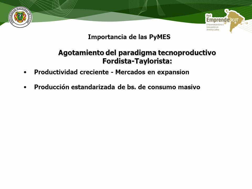 Agotamiento del paradigma tecnoproductivo Fordista-Taylorista: