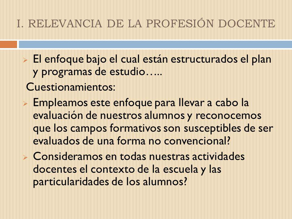 I. RELEVANCIA DE LA PROFESIÓN DOCENTE