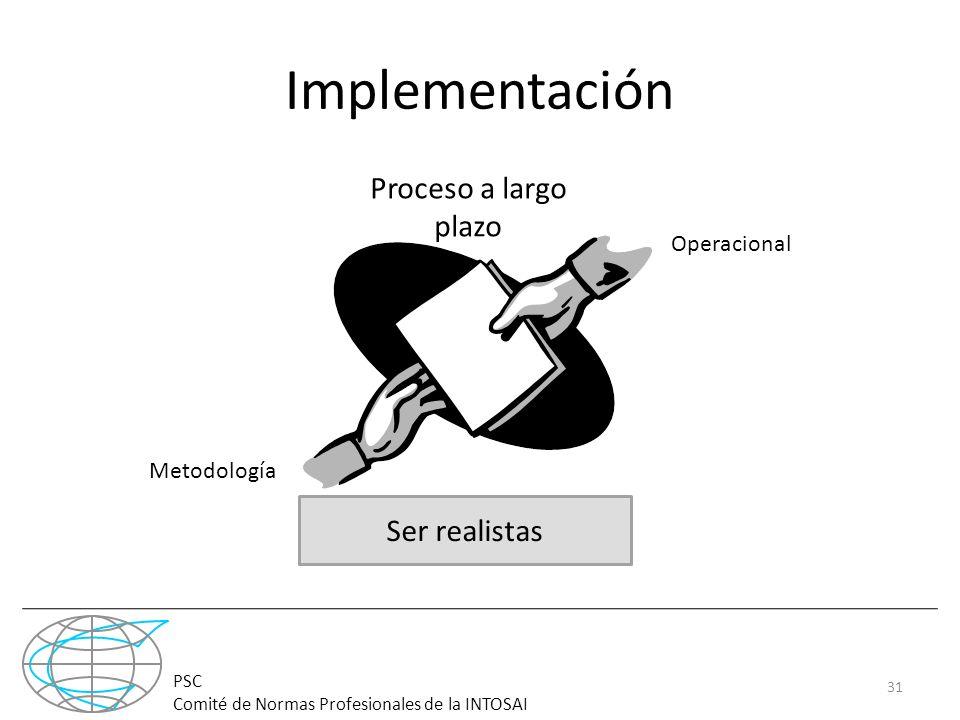 Implementación Proceso a largo plazo Ser realistas Operacional