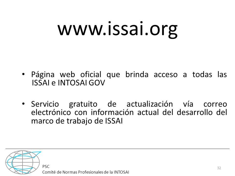 www.issai.org Página web oficial que brinda acceso a todas las ISSAI e INTOSAI GOV.
