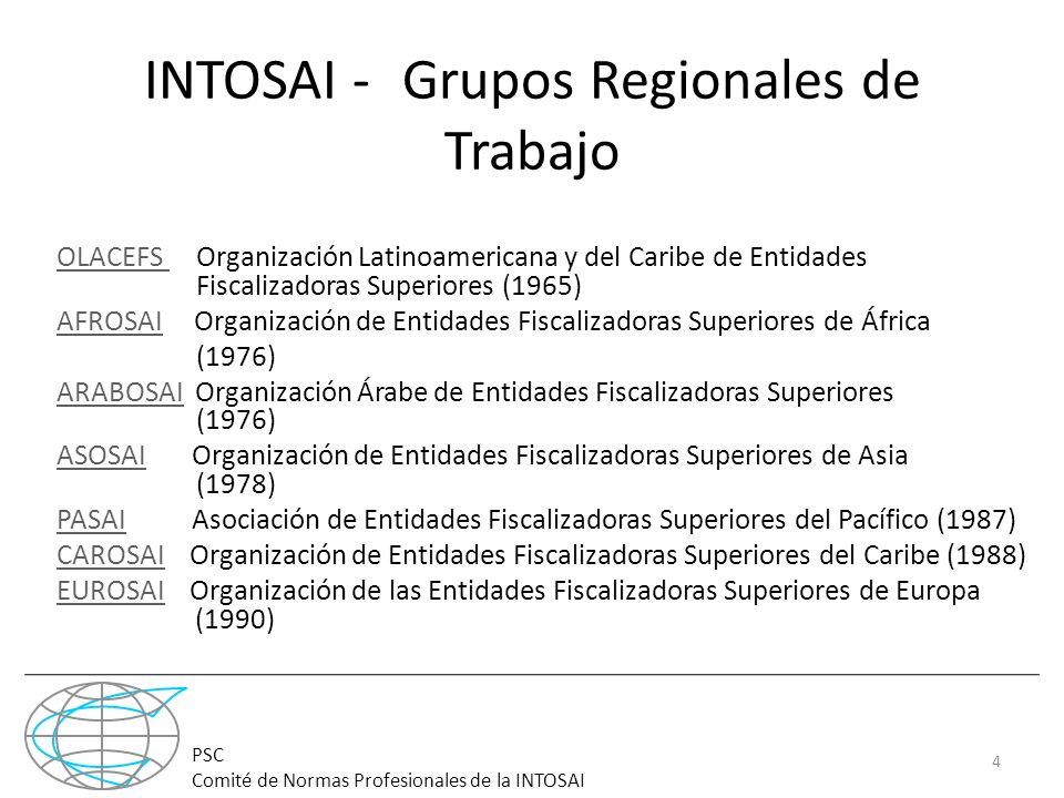 INTOSAI - -Grupos Regionales de Trabajo