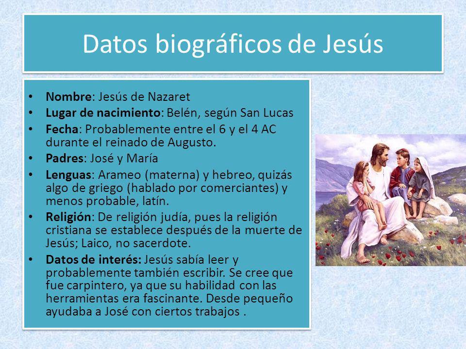 Datos biográficos de Jesús