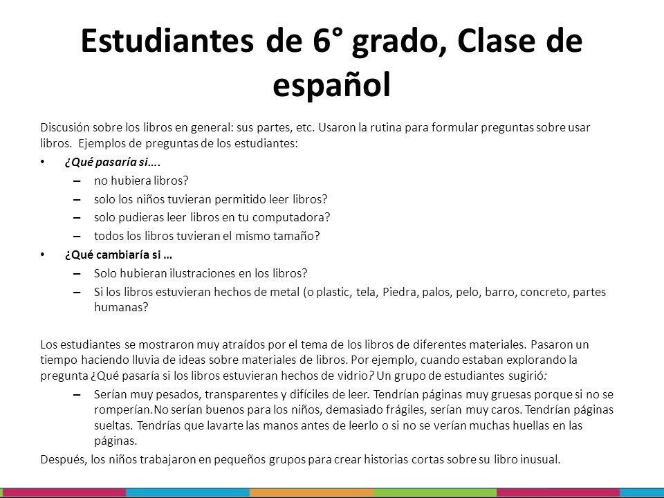 Estudiantes de 6° grado, Clase de español