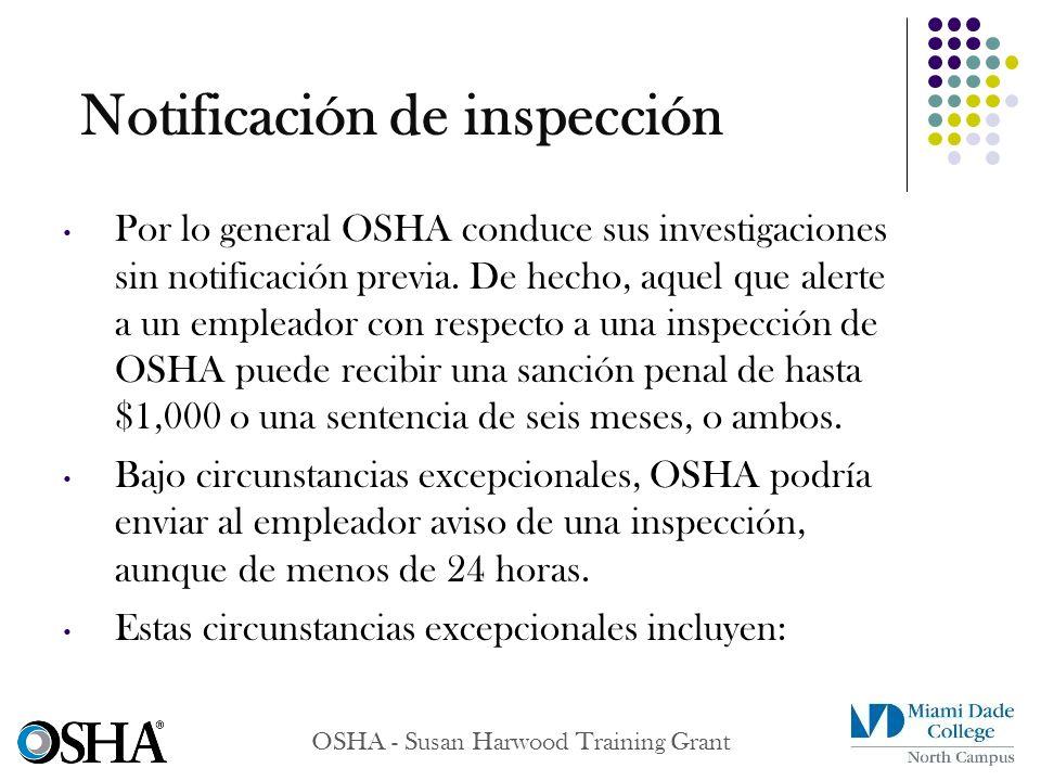 Notificación de inspección