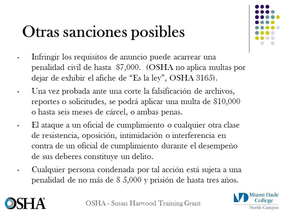 Otras sanciones posibles