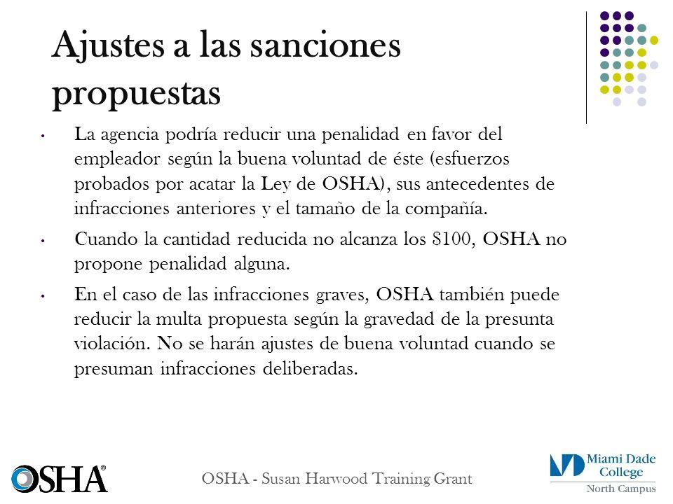 Ajustes a las sanciones propuestas