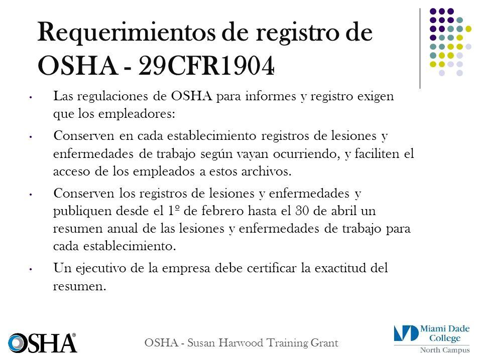 Requerimientos de registro de OSHA - 29CFR1904