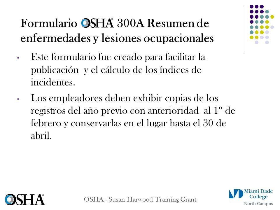 Formulario 300A Resumen de enfermedades y lesiones ocupacionales