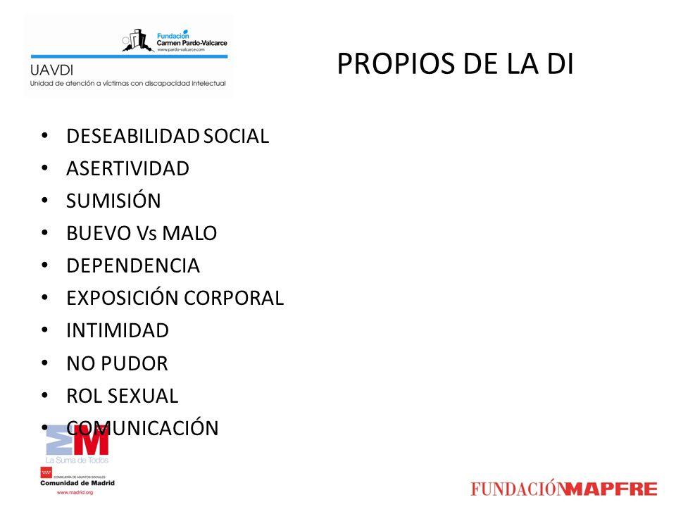 PROPIOS DE LA DI DESEABILIDAD SOCIAL ASERTIVIDAD SUMISIÓN