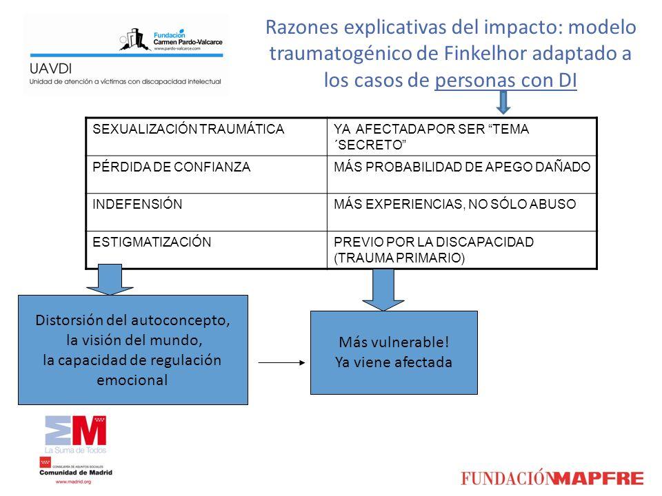 Razones explicativas del impacto: modelo traumatogénico de Finkelhor adaptado a los casos de personas con DI