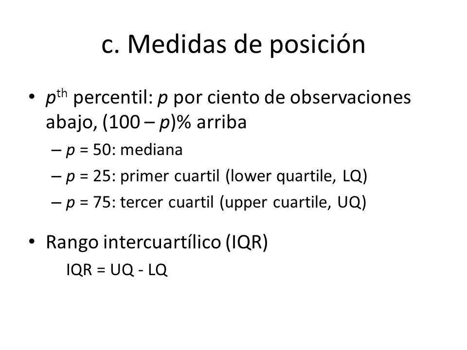 c. Medidas de posición pth percentil: p por ciento de observaciones abajo, (100 – p)% arriba. p = 50: mediana.
