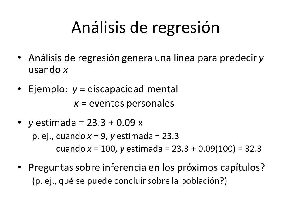 Análisis de regresión Análisis de regresión genera una línea para predecir y usando x. Ejemplo: y = discapacidad mental.