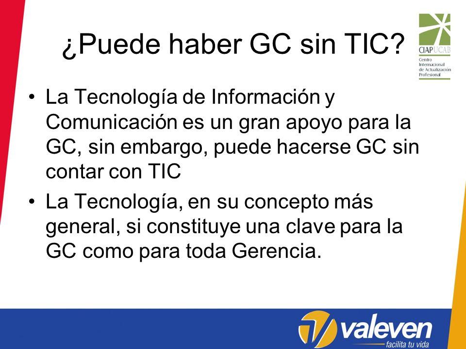¿Puede haber GC sin TIC La Tecnología de Información y Comunicación es un gran apoyo para la GC, sin embargo, puede hacerse GC sin contar con TIC.