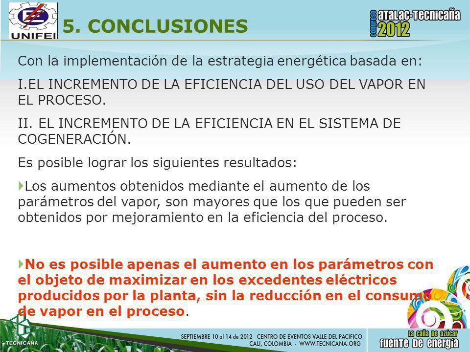 5. CONCLUSIONES Con la implementación de la estrategia energética basada en: EL INCREMENTO DE LA EFICIENCIA DEL USO DEL VAPOR EN EL PROCESO.