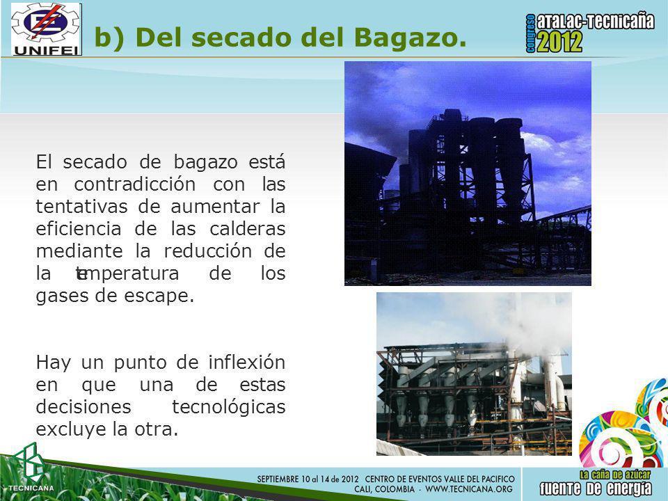 b) Del secado del Bagazo.