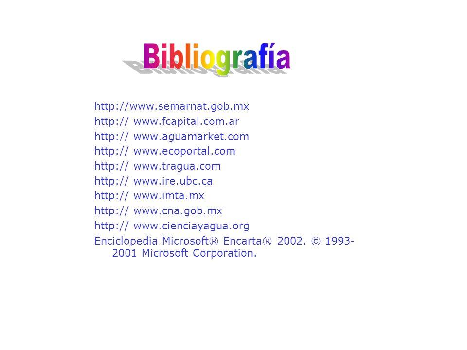 Bibliografía http://www.semarnat.gob.mx http:// www.fcapital.com.ar