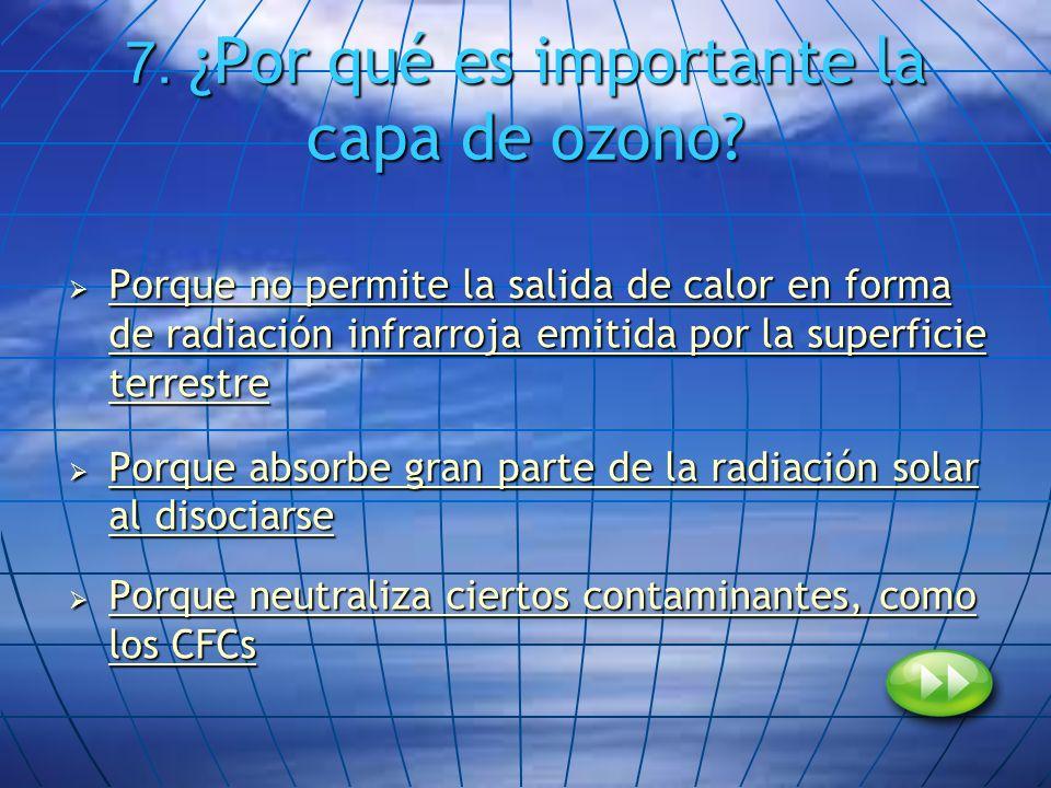 7. ¿Por qué es importante la capa de ozono