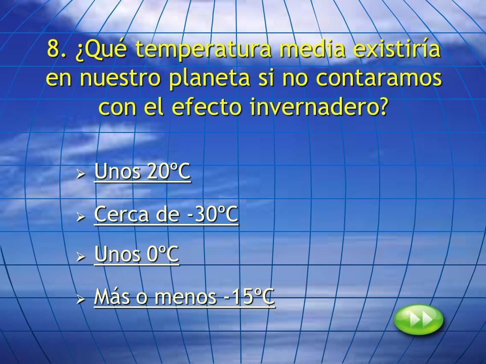 8. ¿Qué temperatura media existiría en nuestro planeta si no contaramos con el efecto invernadero