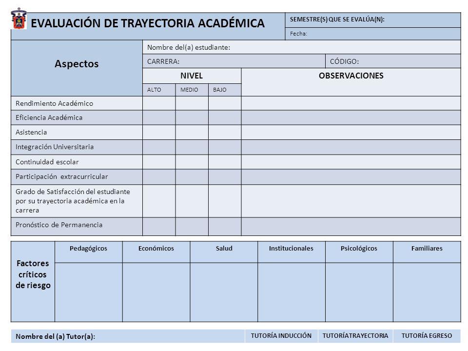 EVALUACIÓN DE TRAYECTORIA ACADÉMICA Factores críticos de riesgo