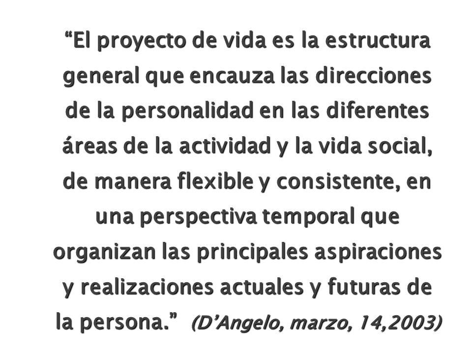 El proyecto de vida es la estructura general que encauza las direcciones de la personalidad en las diferentes áreas de la actividad y la vida social, de manera flexible y consistente, en una perspectiva temporal que organizan las principales aspiraciones y realizaciones actuales y futuras de la persona. (D'Angelo, marzo, 14,2003)