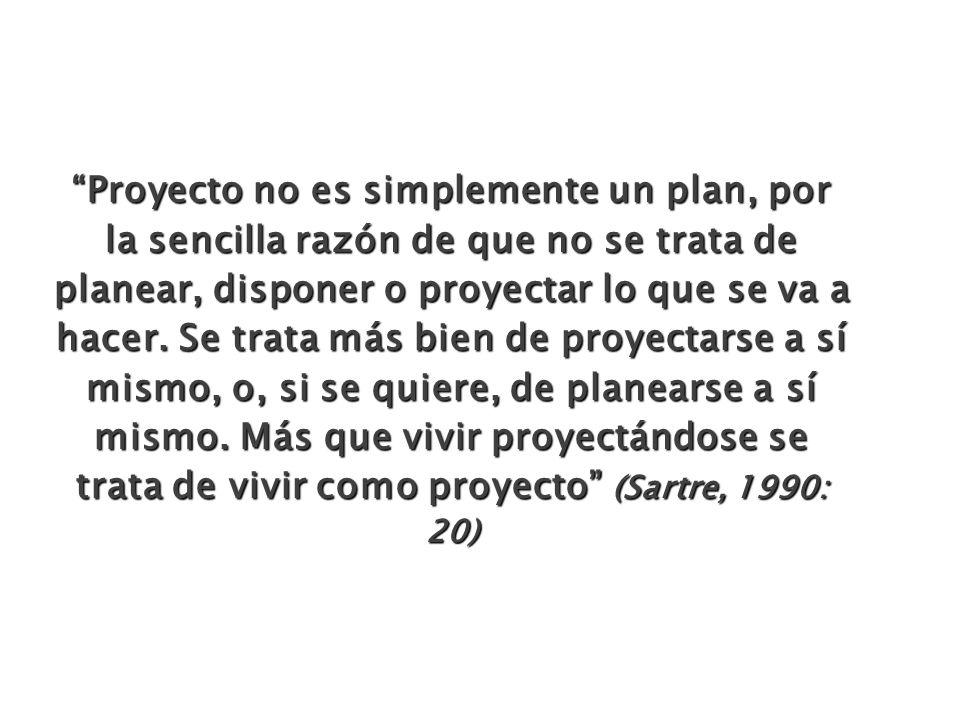 Proyecto no es simplemente un plan, por la sencilla razón de que no se trata de planear, disponer o proyectar lo que se va a hacer.