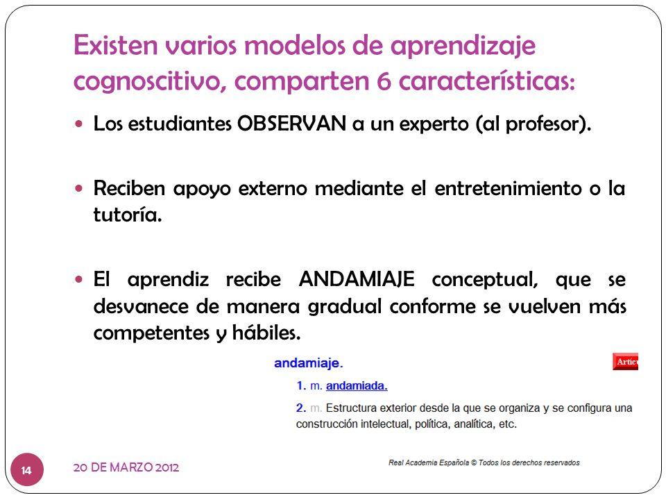 Existen varios modelos de aprendizaje cognoscitivo, comparten 6 características: